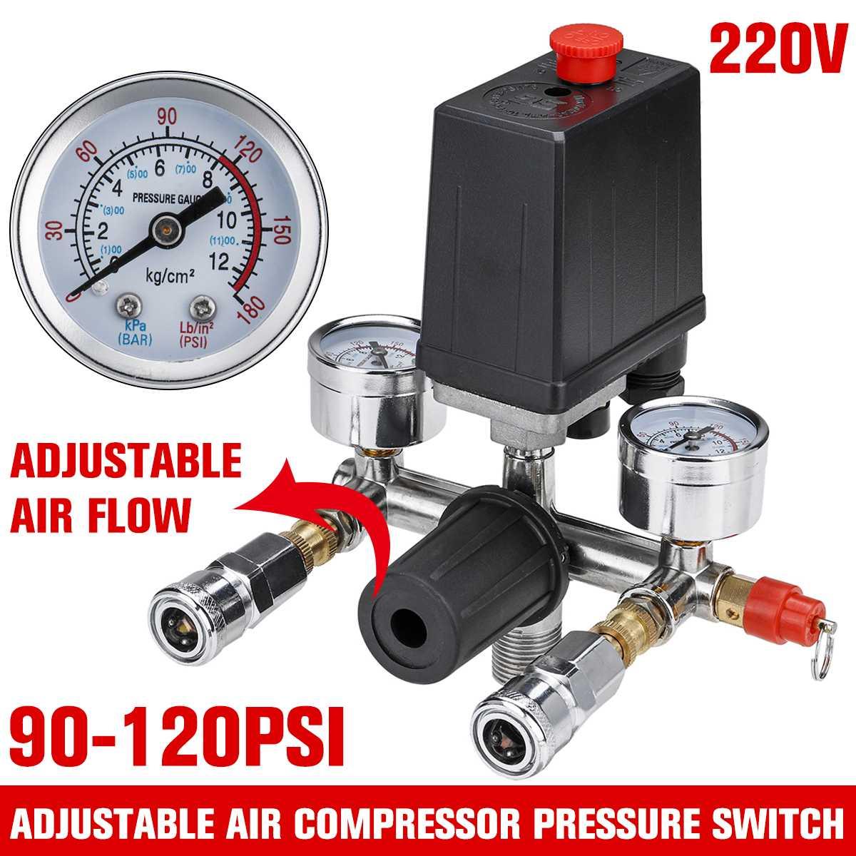 220V Air Compressor Pump Pressure Valve Switch Adjustable Air Flow Manifold Relief Regulator 90-120 PSI Control Valve with Gauge